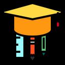 Graduation Cap Pen Pencil Icon