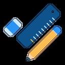 Eraser Ruler Pencil Icon