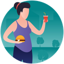 Fat Food Junk Food Burger And Drink Icon