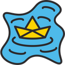 Floating Paper Boat Paper Boat Boat Icon