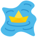 Floating Paper Boat Icon
