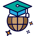 Foreign Study Mortarboard Board Icon