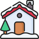 Snowy House Christmas Tree House Icon