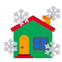 House Snowfall Christmas Icon