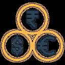 Rupee Dollar Euro Icon