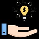Inspiration Hand Bulb Idea Icon