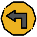 Left Turn Sign Icon
