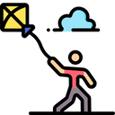Man Flying Kite Icon