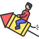 Man Sitting On Rocket Icon