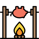 Medieval fire roasting Icon