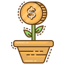 Growth Plant Coins Icon