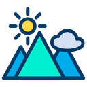 Mountain Cloud Sun Icon