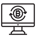 Online Exchange Money Bitcoin Cryptocurrency Online Money Exchange Exchange Bitcoin Icon
