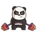 Panda Is Exercising With Dumbbell Icon