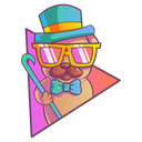 Pug Is Wearing Hat And Sunglasses Icon