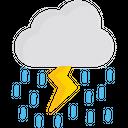Rain With Storm Rainy Weather Thunder With Rain Icon
