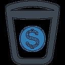 Capital Money Waste Basket Icon
