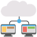 Shared cloud web hosting Icon