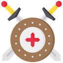 Shield With Sword Blade Sword Icon