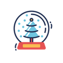 Snow Globe Christmas Tree Icon