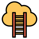 Cloud Stairway Cloud Success Competition Concept Icon