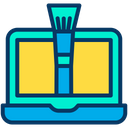 Laptop Computer Brush Tool Icon