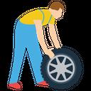 Tyre Changing Car Mechanic Auto Repairman Icon