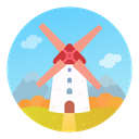 Medieval Mill Architecture Icon