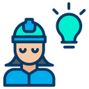 Woman Engineering Bulb Icon