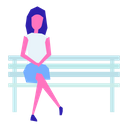 Woman on bench Icon