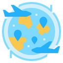 Airplane Flying World Icon