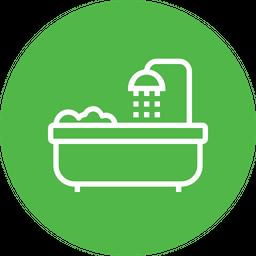 Bathtub, Bathroom, Shower, Towel, Tub, Wash Icon