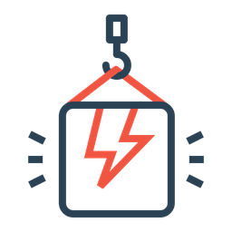 Bolt, Electricity, Thunder, Package, Box, Crain, Lift, Climb, High, Weight Icon png