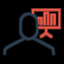 Businessman, Employee, Presentation, Column, Chart, Graph, Statics Icon