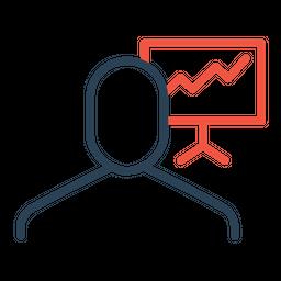 Businessman, Employee, Presentation, Display, Board, Statics, Analysis Icon