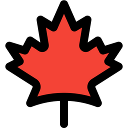 Canadian Maple Leaf Colored Outline  Logo Icon