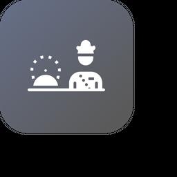 Chef, Cook, Hotel, Restaurant, Platter, Serve, Food Icon