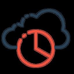 Cloud, Data, Optimization, Performance, Report, Pie, Chart, Statics, Analysis Icon