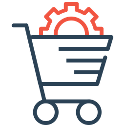 E-commerce, Services, Solution, Cart, Online, Shopping, Settings Icon