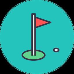 Game, Sports, Sport, Golf, Hole, Flag, Aim Icon