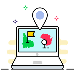 Gps Navigation Colored Outline Icon