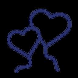 Heart Shape Balloon Line Icon
