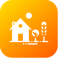 House, Home, Building, Place, Estate, Tree, Garden Icon