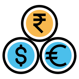 Indian, Rupee, Dollar, Euro, Currency, Coin, Money Icon