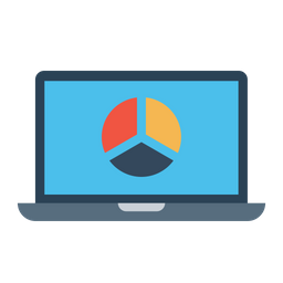 Laptop, Business, Analysis, Graph, Pie, Chart, Statics Icon png