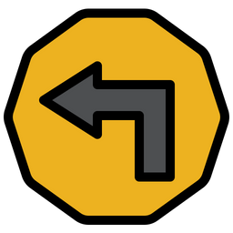 Left Turn Sign Icon