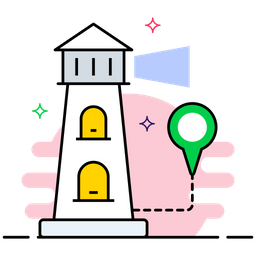 Lighthouse Colored Outline Icon