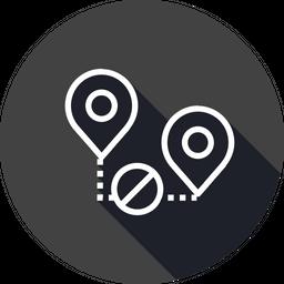 Location, Path, Way, Denied, Cancel, Map, Pin Icon