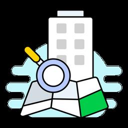 Location Search Colored Outline Icon