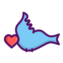 Love, Romantic, Valentine, Day, Bird, Heart, Couple Icon